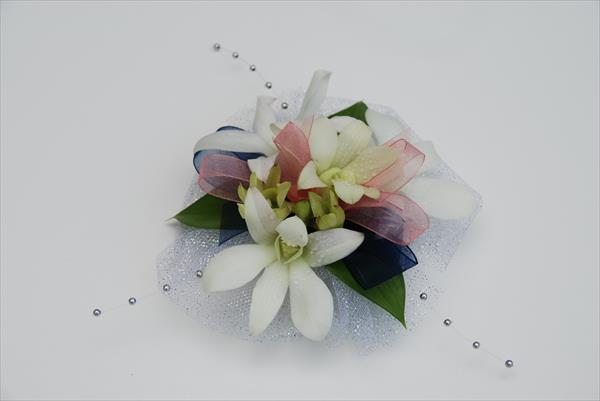 Orchids Corsage with Blue Navy Ribbons