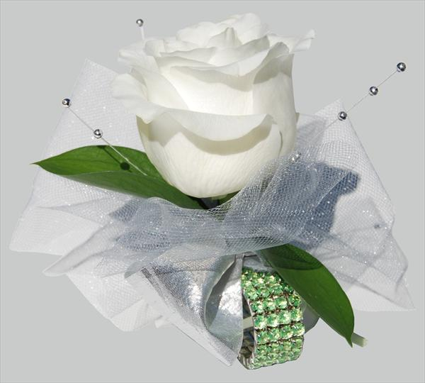 White Rose on Green Rhinestone Corsage