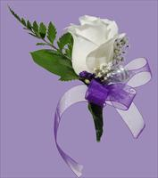 Boutonnière purple ribbon