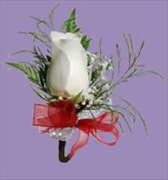 Boutonnière with Red Ribbon