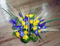 """Yellow Roses and Irises"" Basket"