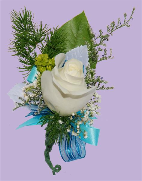 White Rose w/ Turquoise Boutonnière