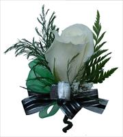 Boutonnière with  black silver ribbon